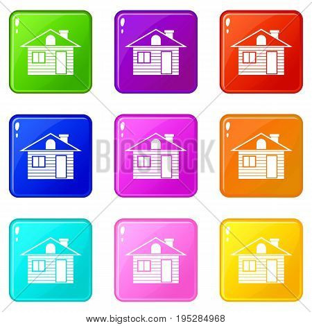 Wooden log house icons of 9 color set isolated vector illustration
