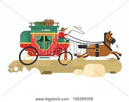 Stagecoach design flat. Transport wagon with horse, transportation carriage. Vector illustration