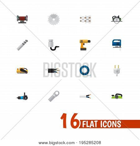 Set Of 16 Editable Electric Icons. Includes Symbols Such As Jointer, Circular, Pound And More. Can Be Used For Web, Mobile, UI And Infographic Design.