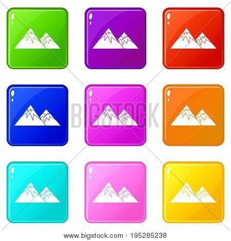 Swiss alps icons of 9 color set isolated vector illustration