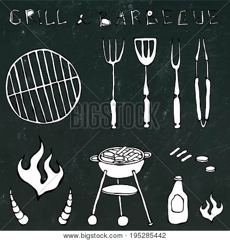 Set of Barbecue Tools: BBQ Fork, Tongs, Grill with Meat, Fire, Ketchup, Bull Horns. Realistic Doodle Cartoon Style Hand Drawn Sketch Vector Illustration. Isolated on a Black Chalkboard Background.