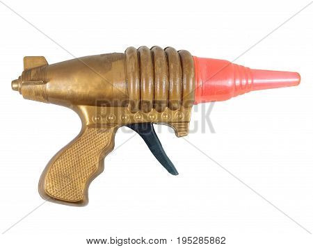 Isolated white raygun / raygun toy : vintage toy