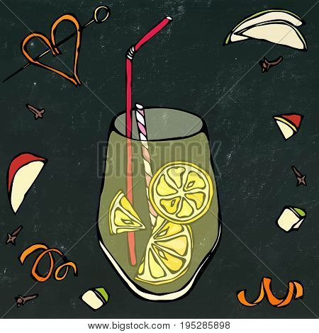 Glass of Lemonade with Lemon Slice and Cocktail Stew. Isolated on a Black Chalkboard Background. Realistic Doodle Cartoon Style Hand Drawn Sketch Vector Illustration.