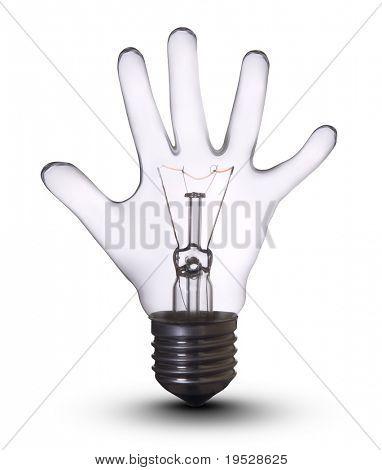 손으로 램프 전구