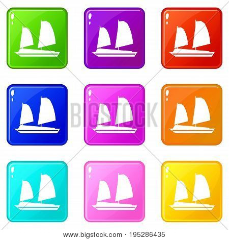 Vietnamese junk boat icons of 9 color set isolated vector illustration