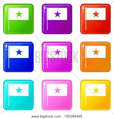 Vietnam flag icons of 9 color set isolated vector illustration