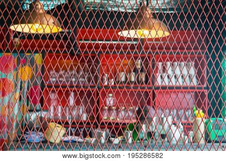 Red steel grating beverage shop Sieve bar