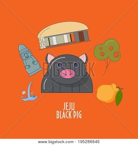 Vector Illustration for Jeju-do island promotion: Jeju Black pig Harubang or stone grandfather statue traditional house hallabong orange fruit. Great as illustration for children menu element.