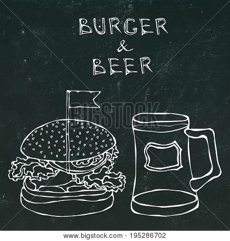 Big Hamburger or Cheeseburger and Beer Mug or Pint. Burger Lettering. Realistic Doodle Cartoon Style Hand Drawn Sketch Vector Illustration. Isolated on a Black Chalkboard Background.