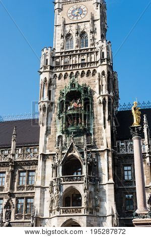 Rathaus-Glockenspiel, a tower at Marienplatz in Munich, Germany