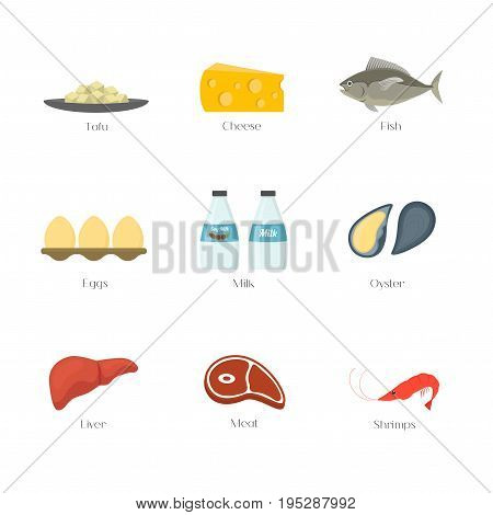 Cartoon Food with Vitamin B12 Elements Concept Healthy Nutrition or Diet Isolated on White Background Flat Design Style. Vector illustration