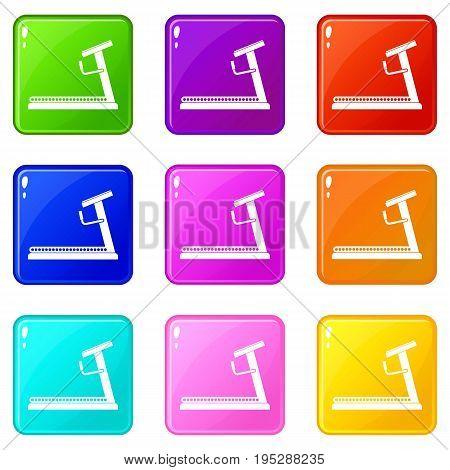 Treadmill icons of 9 color set isolated vector illustration