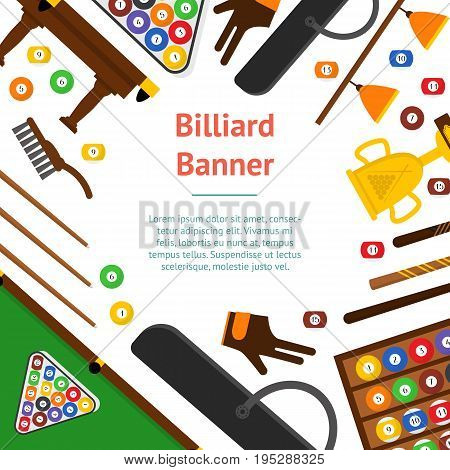 Billiard Game Elements and Equipment Banner Card for Web or App Flat Design Style. Vector illustration