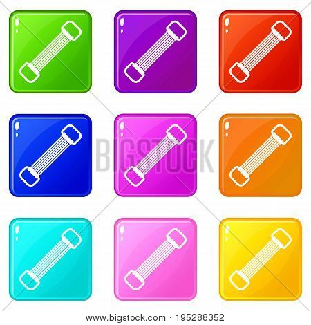 Sports stretchable belt icons of 9 color set isolated vector illustration