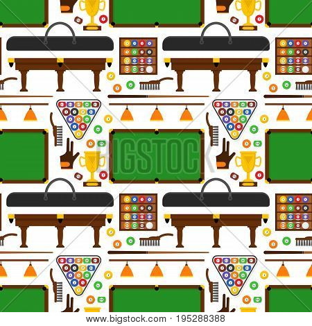 Billiard Game Elements and Equipment Background Pattern on a White for Web or App Flat Design Style. Vector illustration