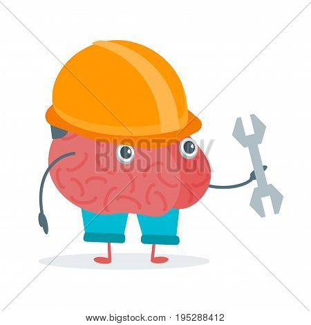 Cartoon Brain Work Activity Character Funny Flat Design Style Element Web. Vector illustration