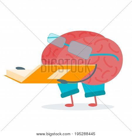 Cartoon Brain Read Activity Character Funny Flat Design Style Element Web. Vector illustration