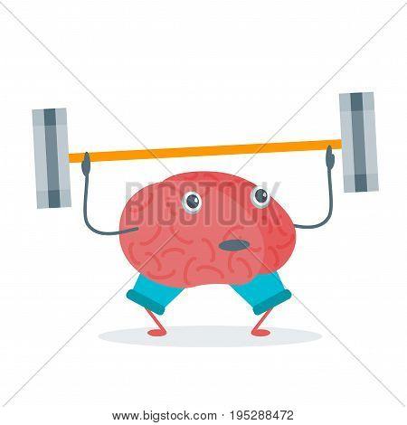 Cartoon Brain Sport Activity Character Funny Flat Design Style Element Web. Vector illustration