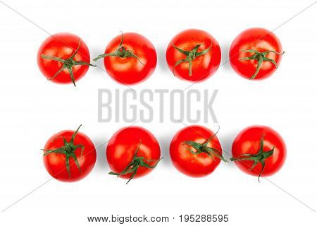 Saturated red tomatoes with green leaves, isolated on a white background. Ripe, raw, juicy, fresh, healthy, organic bright red concept. Healthy vegetables and vitamins.