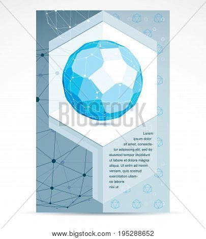 Digital innovations business promotion idea brochure head page. Abstract construction vector dimensional blue low poly design.