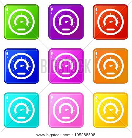 Speedometer icons of 9 color set isolated vector illustration