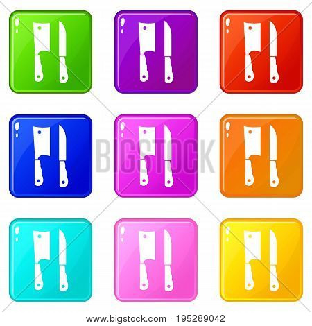 Kitchen knife and meat knife icons of 9 color set isolated vector illustration