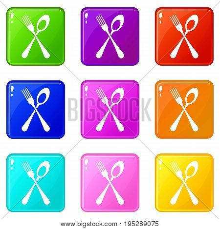 Spoon and fork icons of 9 color set isolated vector illustration