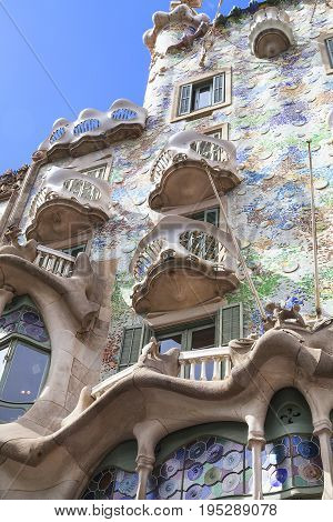 BARCELONA SPAIN - MAY 11 2016: :Front of Casa Batllo Gaudi project . Building redesigned in 1904 by Gaudi located in the center of Barcelona it is on the UNESCO World Heritage Site.