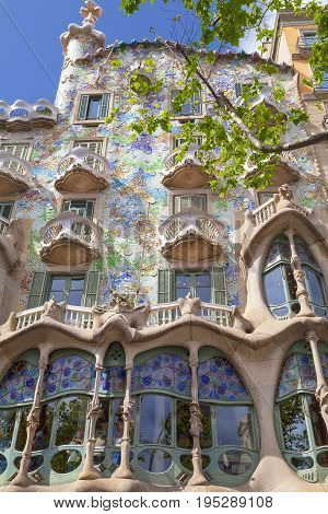 BARCELONA SPAIN - MAY 11 2016: Front of Casa Batllo Gaudi project . Building redesigned in 1904 by Gaudi located in the center of Barcelona it is on the UNESCO World Heritage Site.