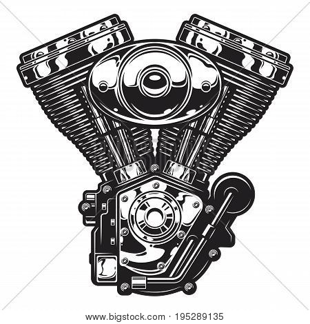 Illustration of vintage custom motorcycle, chopper engine. Monochrome style