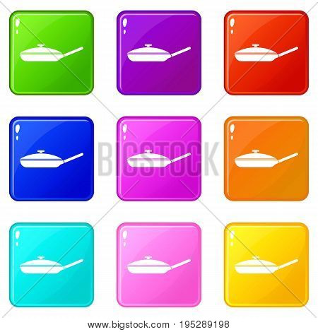 Black frying pan with white lid icons of 9 color set isolated vector illustration
