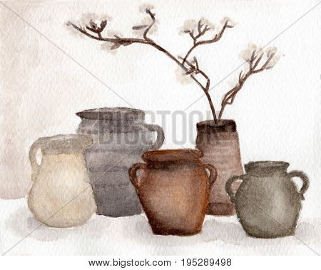 Brown Pottery vase and dried flower decorate in vase , Clay pots, old ceramic vases ,flower pots - watercolor painting in vintage style