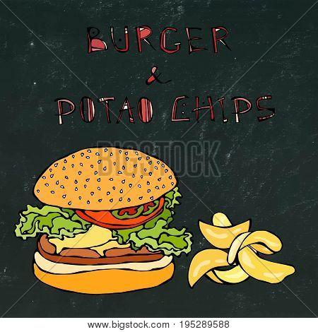 Big Hamburger or Cheeseburger, Beer Mug or Pint and Potato Chips. Burger Logo. Realistic Doodle Cartoon Style Hand Drawn Sketch Vector Illustration. Isolated on a Black Chalkboard Background.