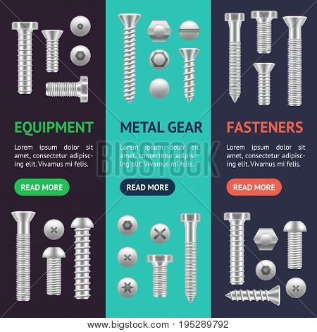 Realistic Screw Different Shapes Banner Vecrtical Set Detailed Construction Hardware Equipment Stainless. Vector illustration