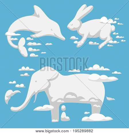 Animal clouds silhouette pattern vector illustration. Abstract art sky cartoon environment natural ornament adorable bright fluffy mammal wilding beast.