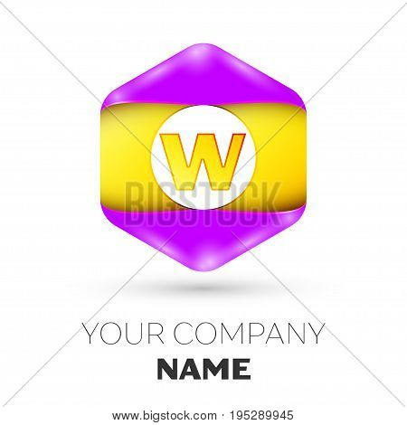 Realistic Letter W vector logo symbol in the colorful hexagonal on white background. Vector template for your design