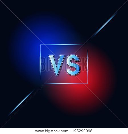 VS Dark Blue and Red Background Versus Letters Fight or Competition with Frame Style Design. Vector illustration
