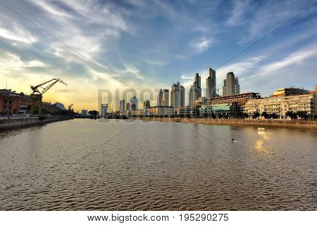 MAY 20 2015 Puerto Madero Buenos Aires Cityscape. touristic destination in Buenos Aires Argentina