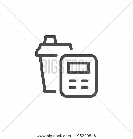 Calorie counting line icon isolated on white. Vector illustration