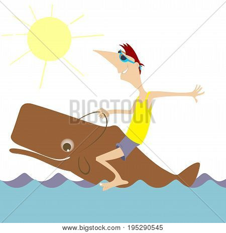 Smiling man rides on the whale isolated. Cartoon smiling man rides on the whale, waves and sunny weather illustration