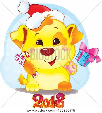 Cute Symbol of Chinese Horoscope - Yellow Dog for New Year 2018. Happy 2018 New Year card. Funny puppy congratulates on holiday. Symbol of Chinese horoscope for 2018. Cute puppy in cartoon style.