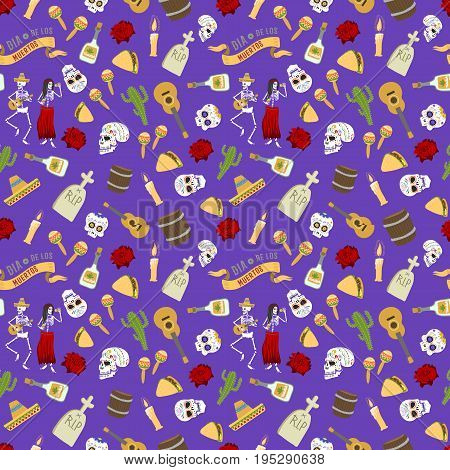 Colorful set of icons for dia de los muertos. Day of the dead and halloween. Skull catrina party culture vintage symbols. Traditional festival happy design seamless pattern background