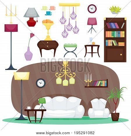 Furniture room design decor elements and room interior design furniture interior style concept vector. Furniture interior and home decor concept icon set flat vector illustration.
