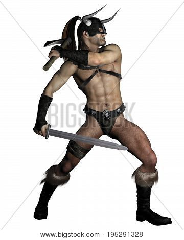 Fantasy illustration of an old muscular barbarian warrior with sword and axe in a fighting pose, digital illustration (3d rendering)