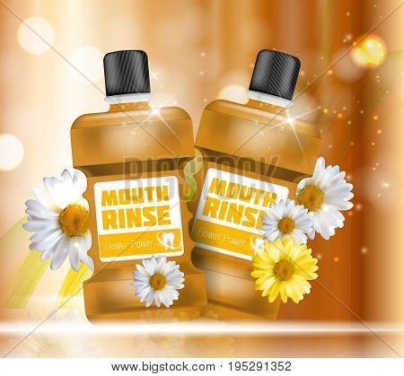 Mouth Rinse Design Cosmetics Product Bottle with Flowers Chamomile Template for Ads, Announcement Sale, Promotion New Product or Magazine Background. 3D Realistic Vector Iillustration. EPS10
