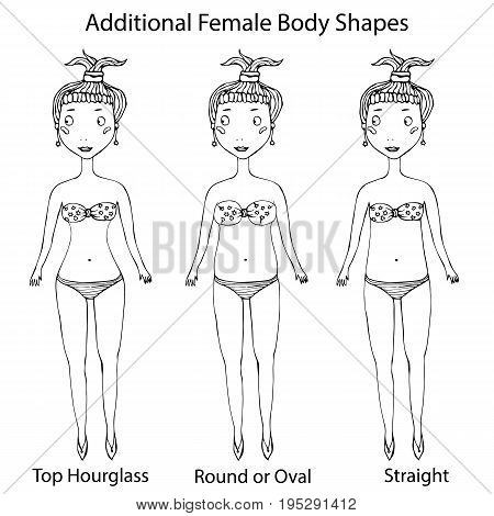 Female Body Shape Types. Top Hourglass, Round or Oval and Straight . Vector Illustration Isolated On a White Background. Realistic Hand Drawn Doodle Style Sketch.