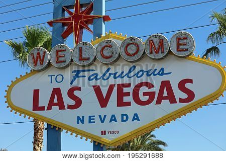 LAS VEGAS, USA - JULY 01, 2017: Welcome to Fabulous Las Vegas in Nevada. USA