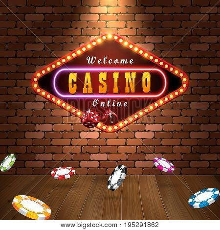 Vector design casino banner. Poker background with dice casino chips. Billboard for casino on brick wall.