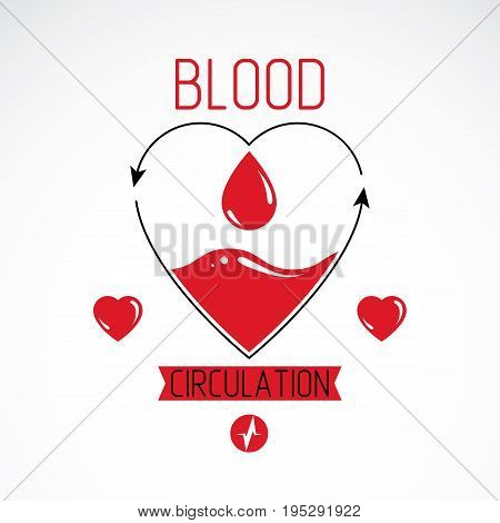 Vector illustration of heart shape full of blood composed with arrows. Cardiovascular system diseases prevention conceptual emblem for use in pharmacy.