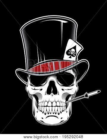 Skull of gentleman in cylinder smoking a cigarette